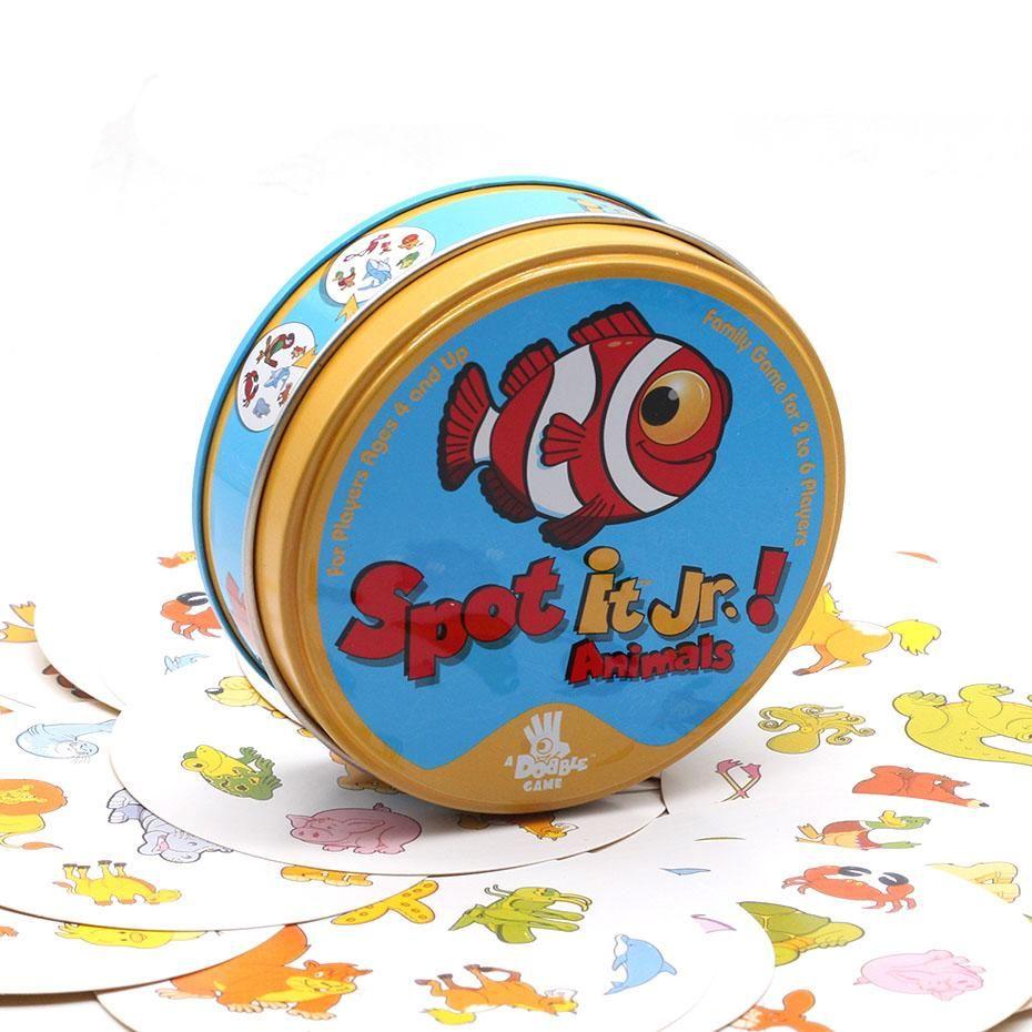 Tableau des cartes de jeu et repérer Dobble Card Game Table plateau de jeu pour les cartes spot Dobbles Enfants It Go Camping Métal Tin Box Jouets