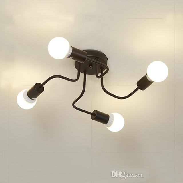 جودة عالية 4 أضواء خمر إديسون مصباح الظل متعددة قابل للتعديل DIY سقف العنكبوت مصباح معلقة إضاءة الثريا الحديثة