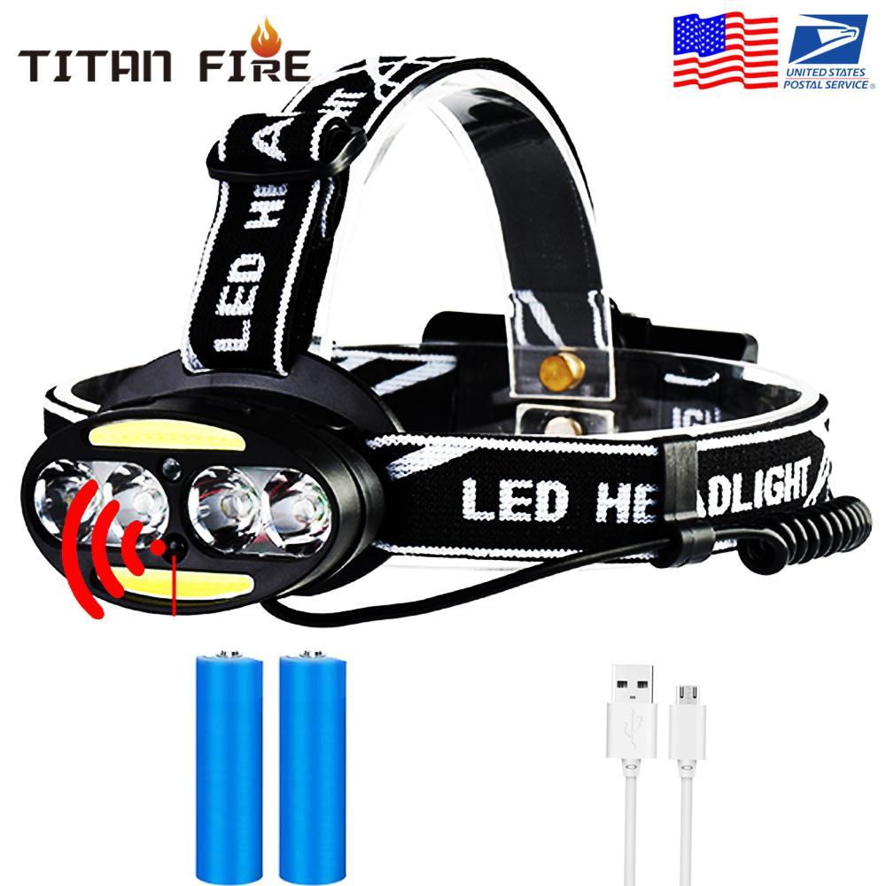 Mini COB recarregável LED Farol Corpo Sensor de movimento Cabeça de bicicleta Lâmpada de luz Acampamento ao ar livre com USB