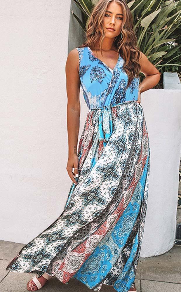 Сплит длинное платье Летнее платье Талия Узелок печати рукавов V-образным вырезом Женщины Платья Vestidos Sexy Mujer Streetwear