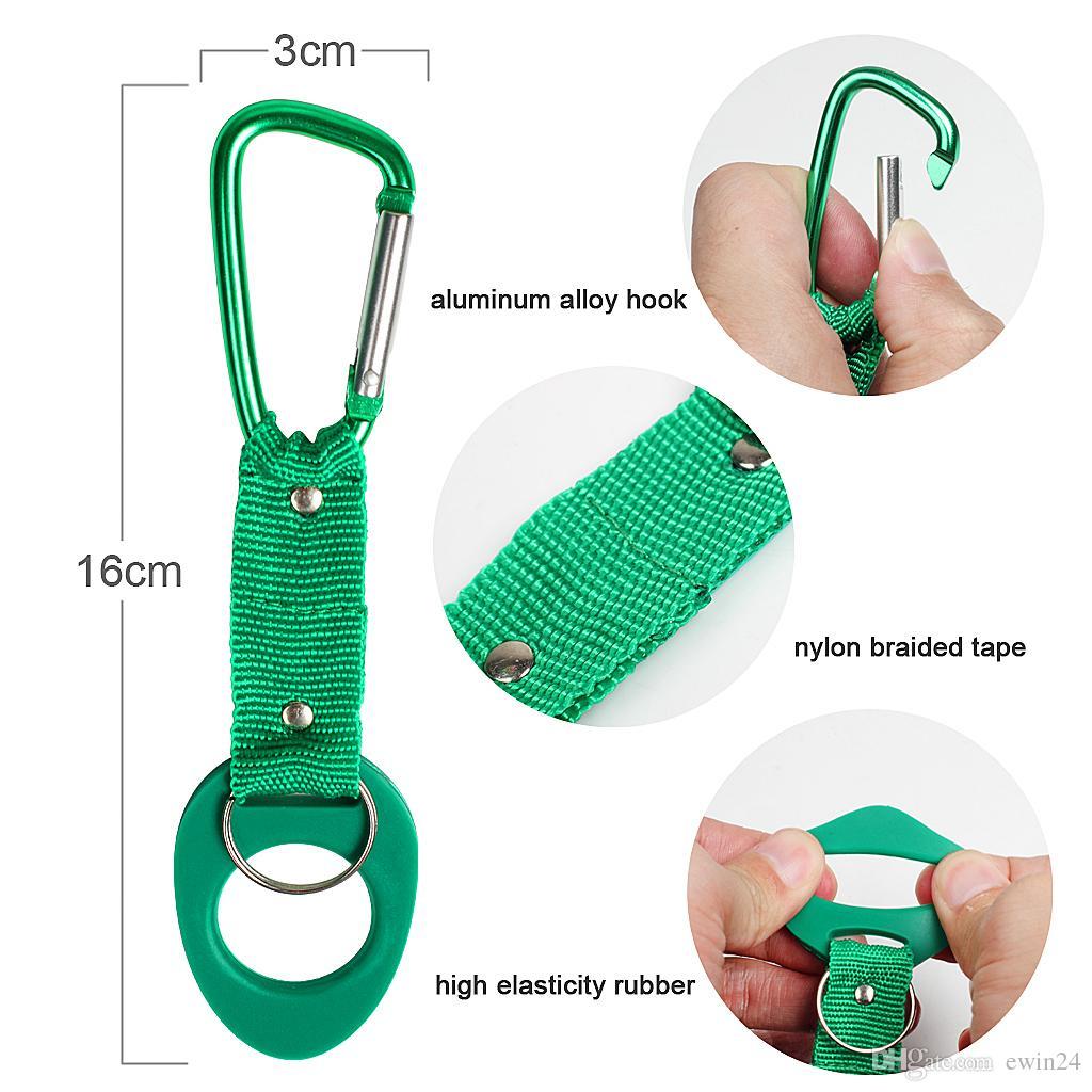 5Water Bottle Holder Hook Strap Belt Clip Buckle Carabiner Travel Camping Hiking