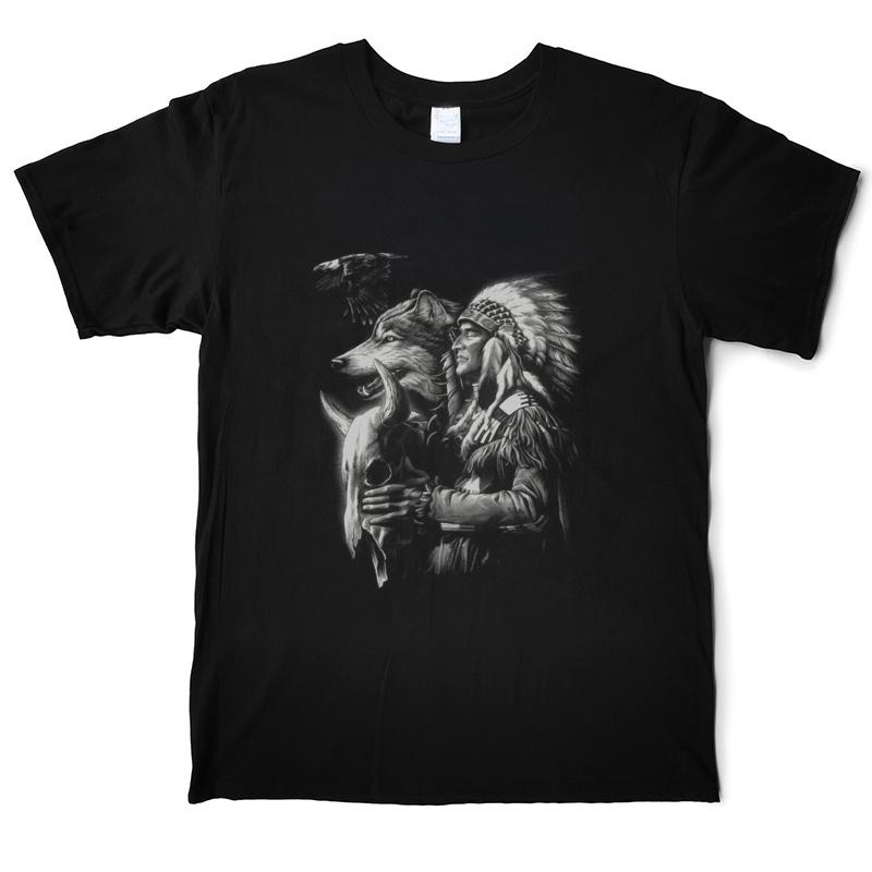 Native Indian T Shirt Men Funny 100% Cotton T-Shirt O'Neck Short Sleeve Street Tees Shirt XS-3XL Casual Printed Tops