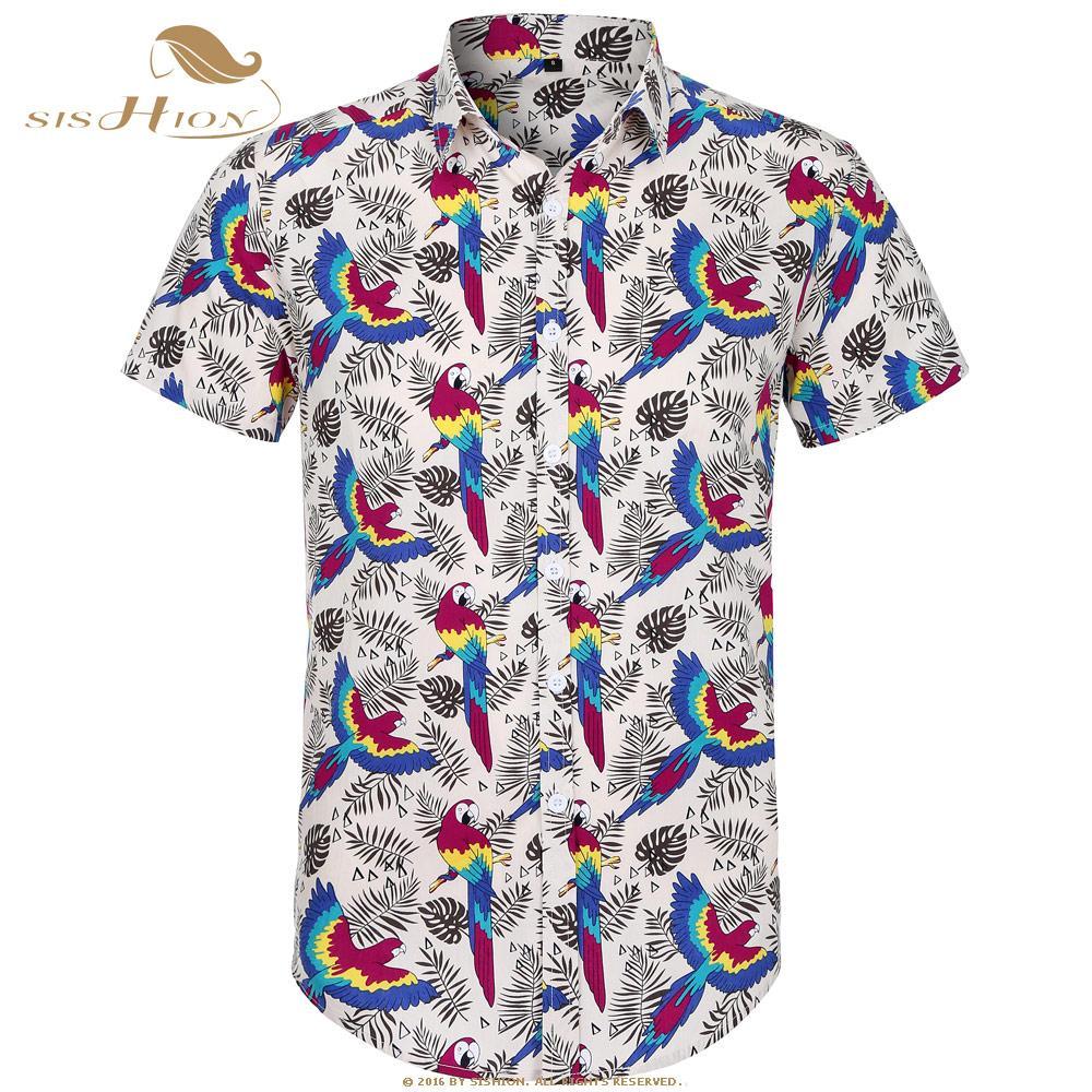 Sishion قصيرة الأكمام الرجال قميص الببغاء النخيل طباعة الصيف شاطئ هاواي قميص زائد حجم قميص الأزهار الرجال عارضة عطلة الملابس