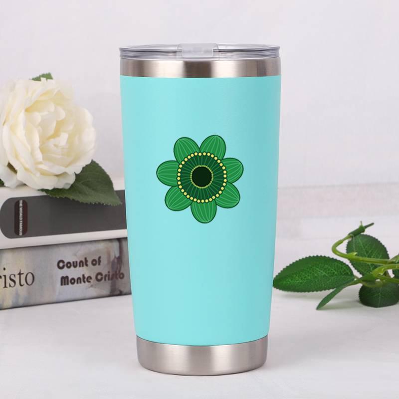 doble pared de acero taza botella de agua de la taza taza inoxidable del verde de la flor taza del logotipo de impresión