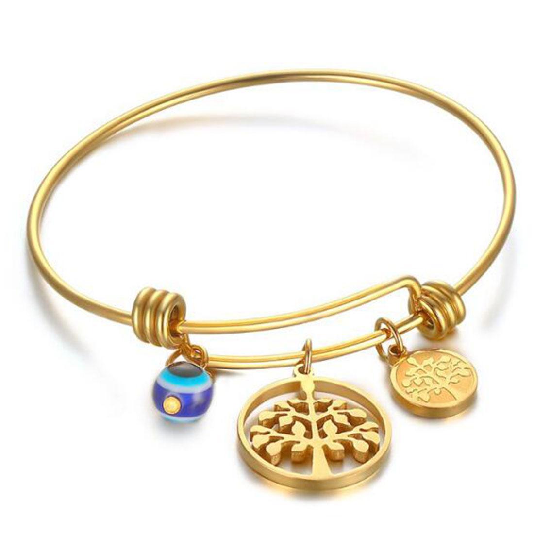 18K Gold plattiert Womens Edelstahl Baum des Lebens Charms Inspritional Freundschaftsarmband