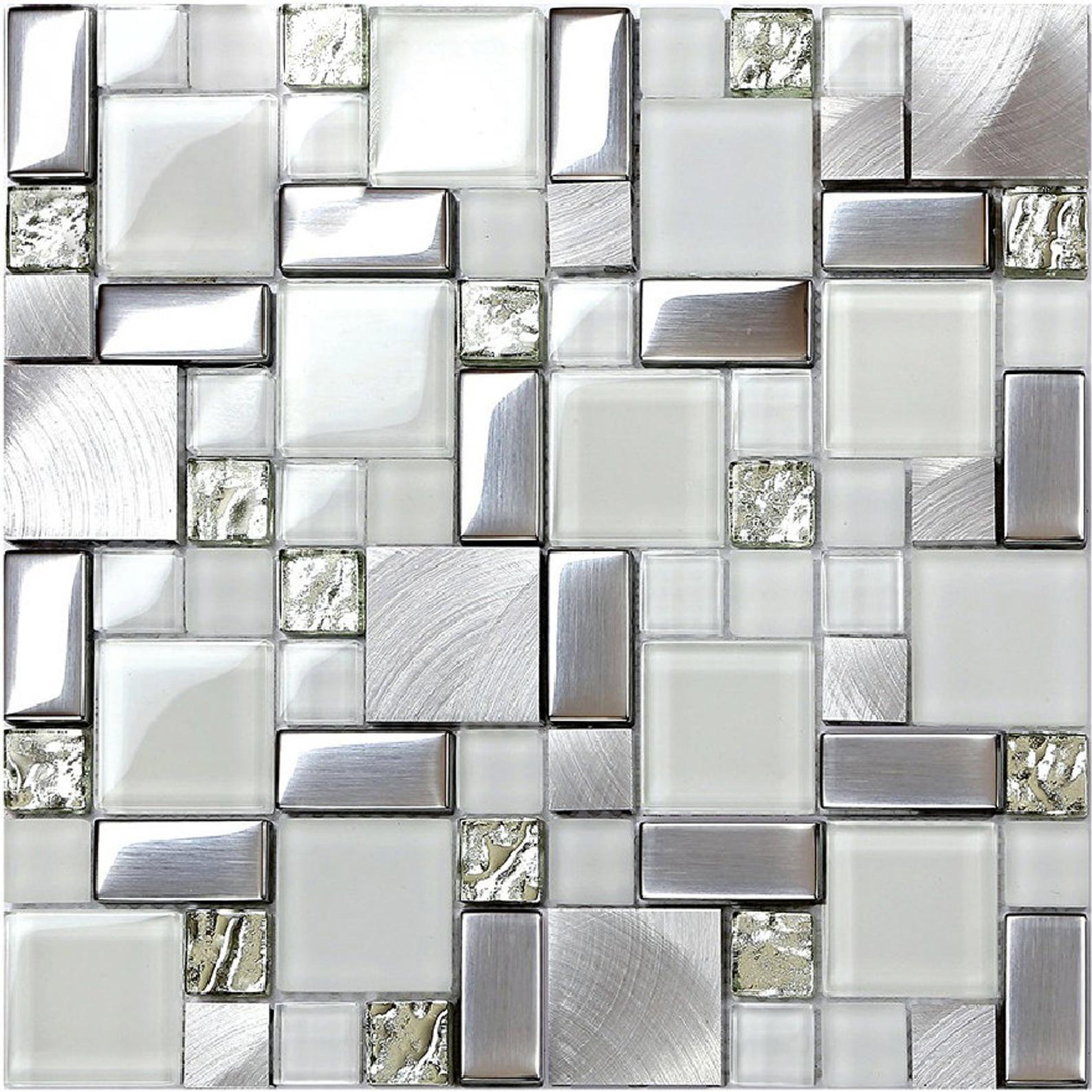 - 2020 Crystal White Glass Mosaic Tile Backsplash SSMT104 Silver