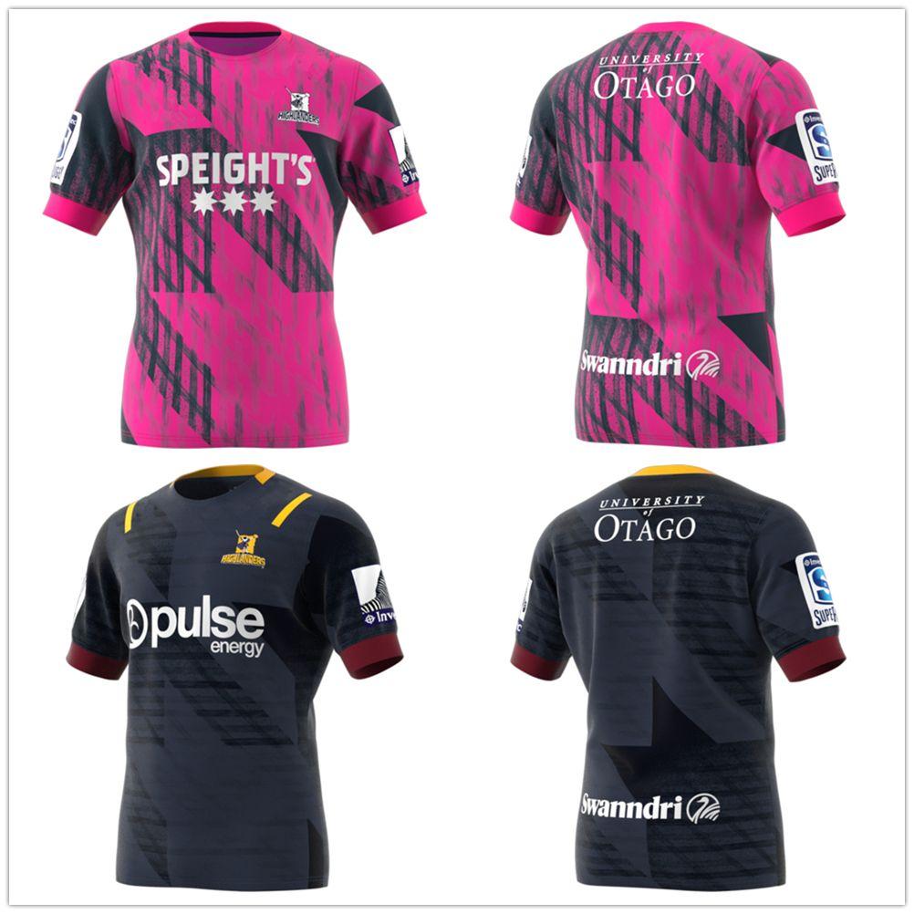 핫 판매 최고 품질 2020 뉴질랜드 슈퍼 럭비 저지 고지 훈련 저지 리그 셔츠 하이랜더 홈 럭비 유니폼