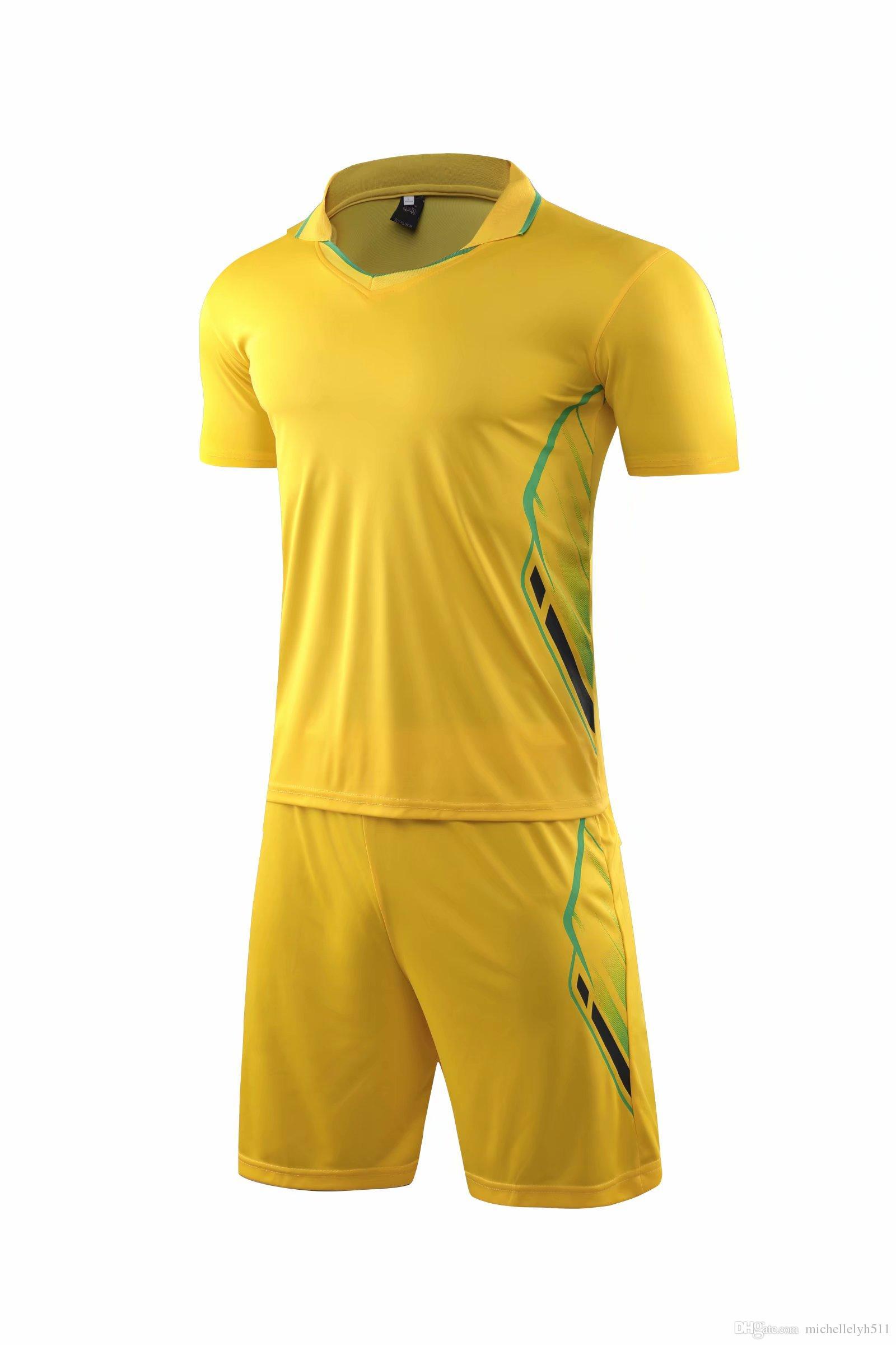 710 dos homens camisas de futebol personalizada uniformes do Amarelo Adulto kit de futebol pessoal calções jérsei DIY Nome Futbol Club ternos de treinamento de futebol