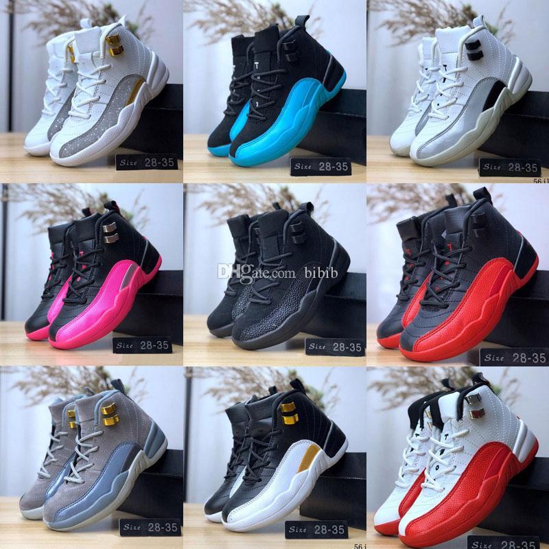 2020 Мальчик девочка 12s Gym красный французский синий Дети Баскетбол обувь 12 Бордо Дети Спорт Мальчики Девочки Кроссовки Размер 28-35