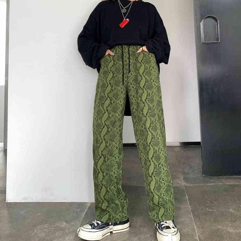NiceMix Femmes Taille Haute Peau De Serpent Large Jambe Pantalon Streatwear Lady Lâche Occasionnel Long Harem Pantalon Femme Punk Bas Droite Y200418