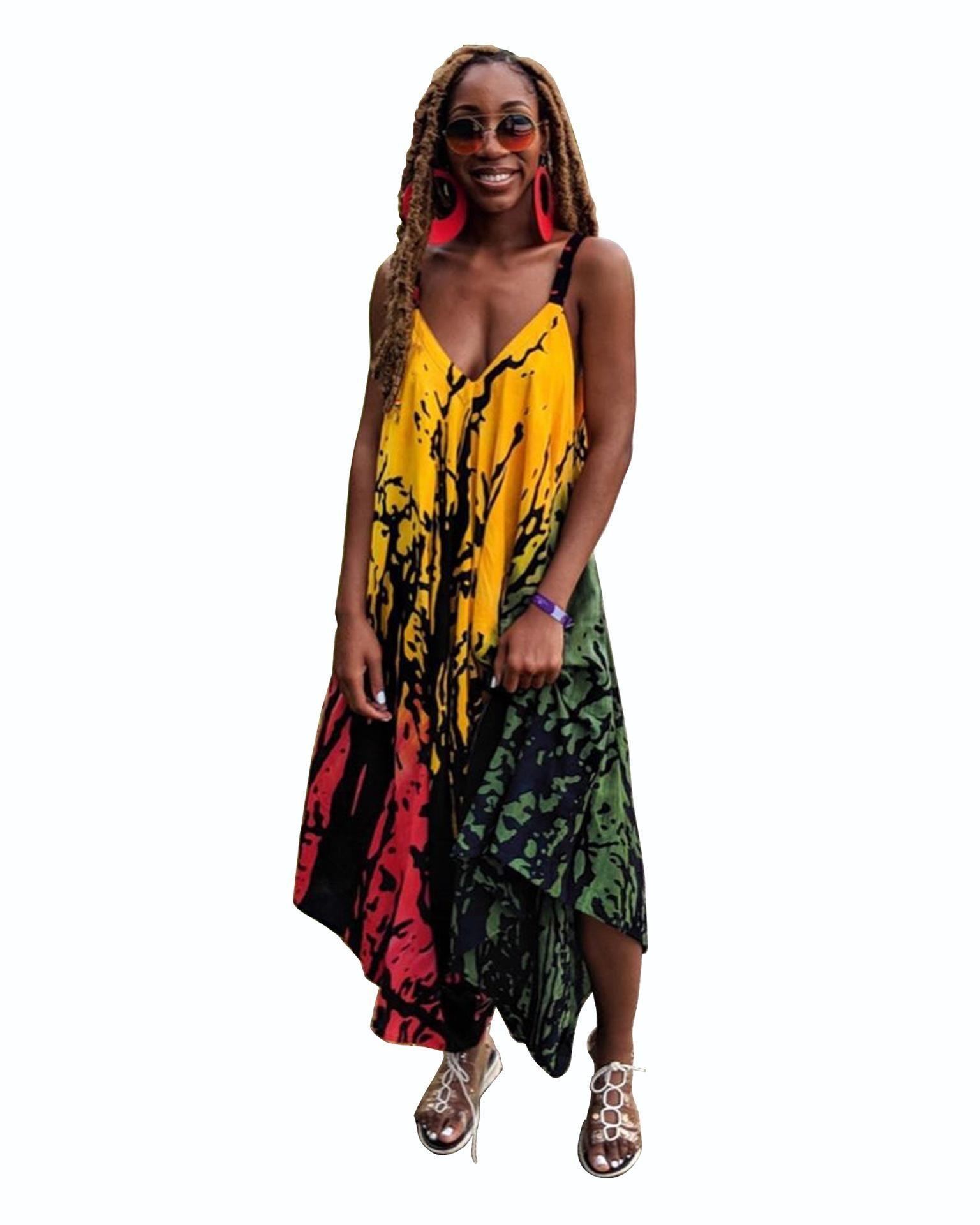 Kadın Yaz Tulumlar V Yaka Kolsuz Sling Kadın Elbise Çiçek Baskı Moda Stil Gündelik Giyim