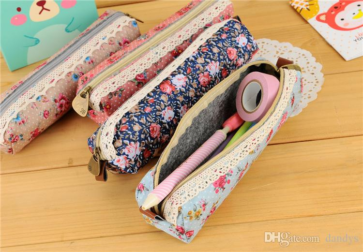 Children's stationery F46-56 New vintage dots flower lace series pencil bag/ pouch/ pen bag wholesale /Free shipping, dandys