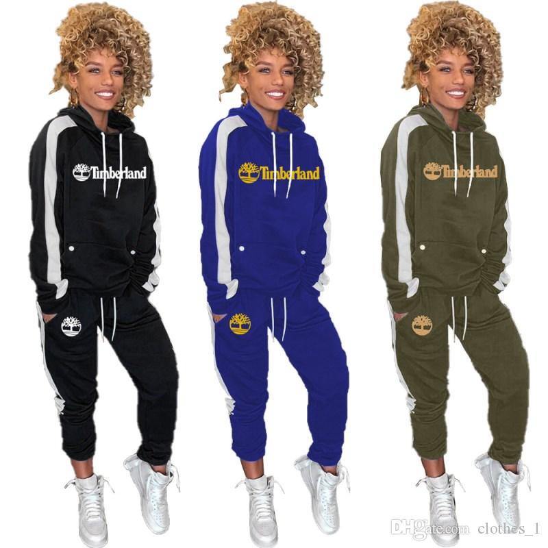 Womens abiti a maniche lunghe 2 pezzi tuta da jogging sportsuit camicia leggings abiti pantaloni felpa vestito di sport klw2898 vendita caldo
