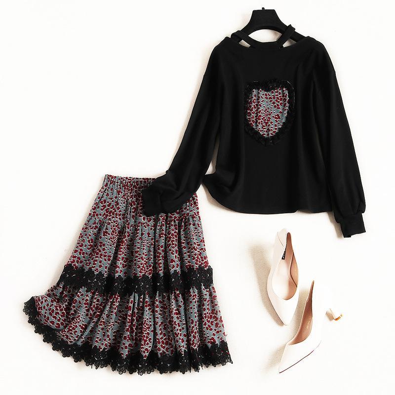Высокое качество модельер из двух частей юбка набор женщин 2019 весна с длинным рукавом свободного покроя топ + леопардовым принтом мини-юбка костюм наборы