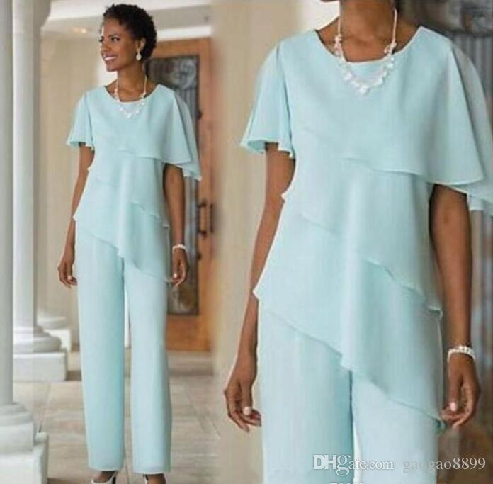 Mother of the Bride Dresses Pants Suits Wedding Guest Dress Silk Chiffon Short Sleeve Tiered Mother of Bride Pant Suits Custom Made