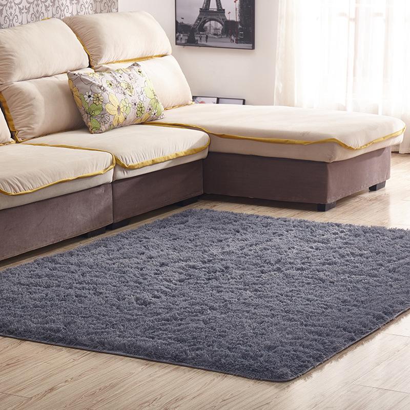 FBC19011018 Pure Color Floor Carpet Home Decoration Long Hair Floor Mat Silk Wool Luxury Door Mat For Coffee Shop