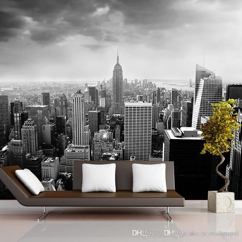 Schwarz Weiß 3d Fototapete Nachtlandschaft New York City Benutzerdefinierte 3D Fototapete für Hintergrund Wohnzimmer Architectural Removable