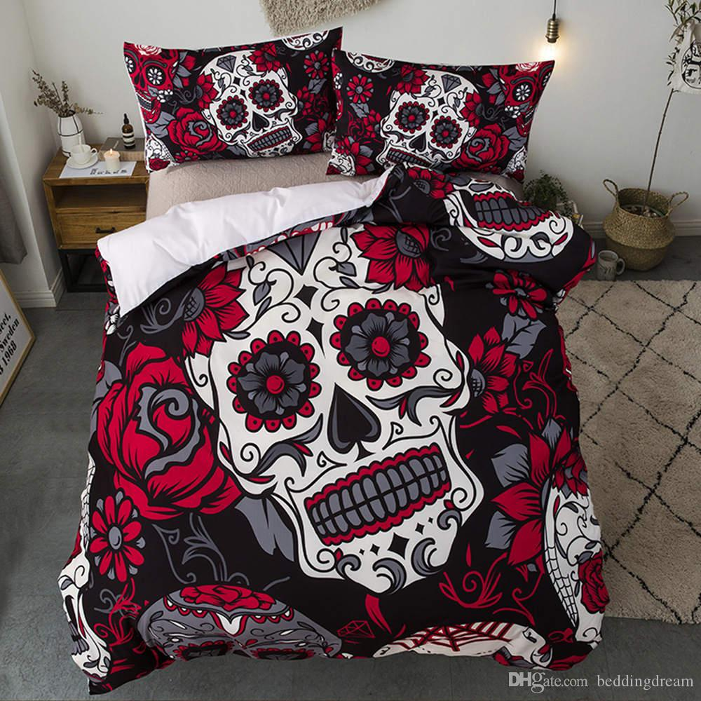 3D Skull High End Bedding Set King Size Flower Scary Duvet Cover Printed Queen Home Deco Single King Bed Cover with Pillowcase