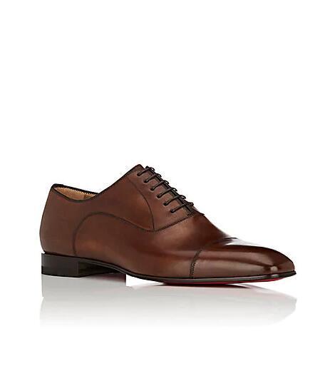 Presente perfeito - Fashion Red inferior Greggo Plano Brown, Black couro genuíno Loafer Praça Toe Walking Gentleman Partido do vestido de casamento grátis