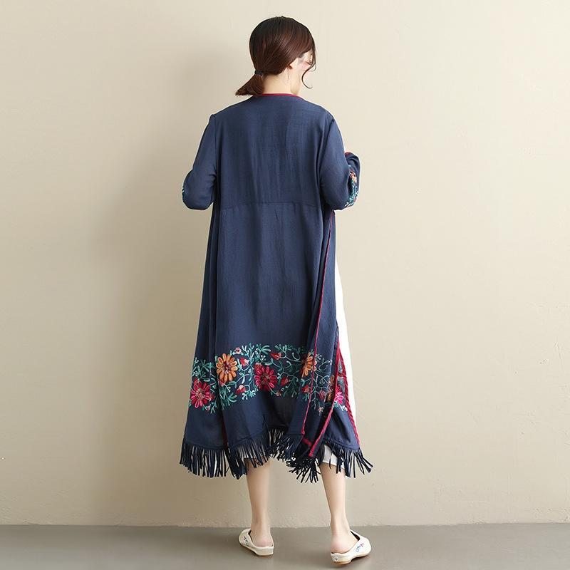 5NUt7 IAK8o cappotto etnica lungo nappa con squisita ricamato femminile cappotto traspirante luce stile etnico stile cardigan nationalityEmbroidery