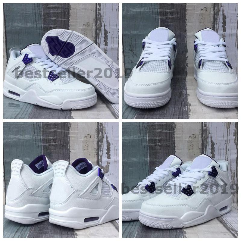 New 4 Cour Violet Blanc 2020 Hommes de basket-ball 4s Violet Orange Chaussures Metallic HOMME Baskets Jumpman Designer Chaussures Taille 13 des chaussures