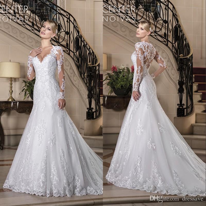 2019 vintage v-pescoço em v manga longa vestidos de noiva Botão de frisado de volta pura vestidos de casamento nupcial vestido de casamento