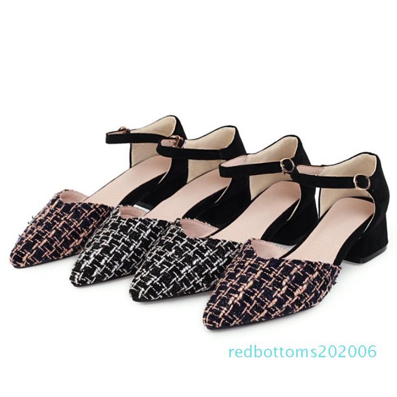 FITWEE Plus Size 31-48 Platz Heel Damen Sandalen Riemchen Frauen Schuhe Sexy Muster Buckle Metall Spitzschuh beiläufige Fußbekleidung r06