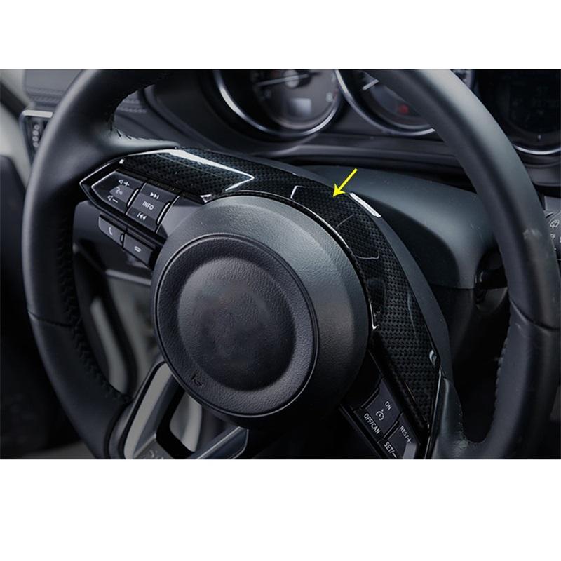 Car Styling-Zubehör für Mazda CX3 CX3 CX5 CX5 Mzada 2 3 6 2016 2017 2018 2019 ABS Chrom-Carbon-Faser-Lenkrad-Panel-Abdeckungs-Ordnung