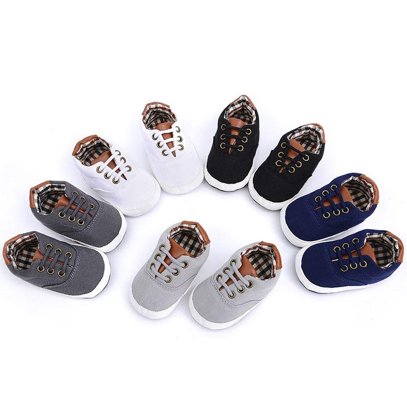 Baby Shoes Spring and Autumn Leisure Lacing Soft Soled Baby Walking Shoes 0-1 Year Old Toddler Boys Cool Canvas Sport Shoe Style