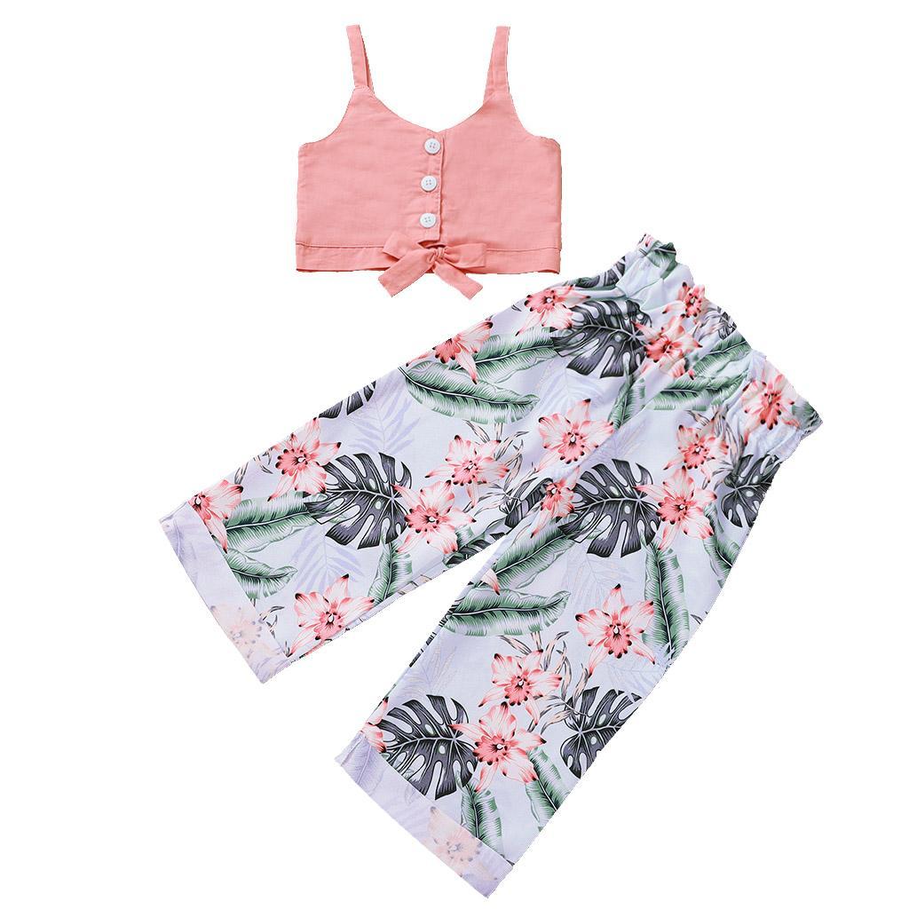 3 pattern Girls Bretelle Top + Floral Wide Pantaloni Abiti Estate 2020 Abbigliamento per bambini per Boutique Fashion 1-4T Little Girls 2 PC Set