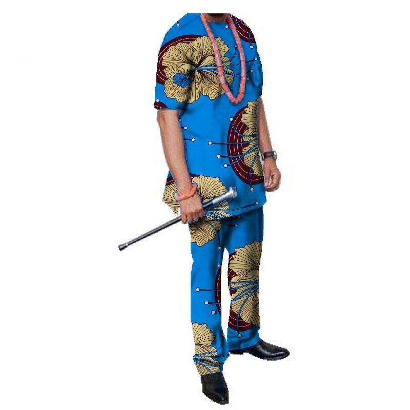 2019 Yaz Afrika Erkek Pantolon Set Geleneksel Üst Ve Pantolon Set Dashiki Afrika Balmumu Baskı Giyim Artı Boyutu Pantolon WY324 Suits