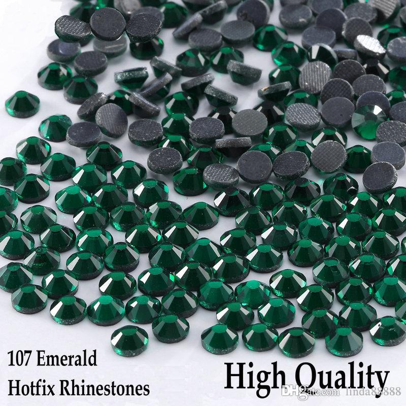 Shinning!!! All Sizes EMERALD DMC hotfix Rhinestone flatback Glass crystal DIY Clothing Bag Garment decoration iron on