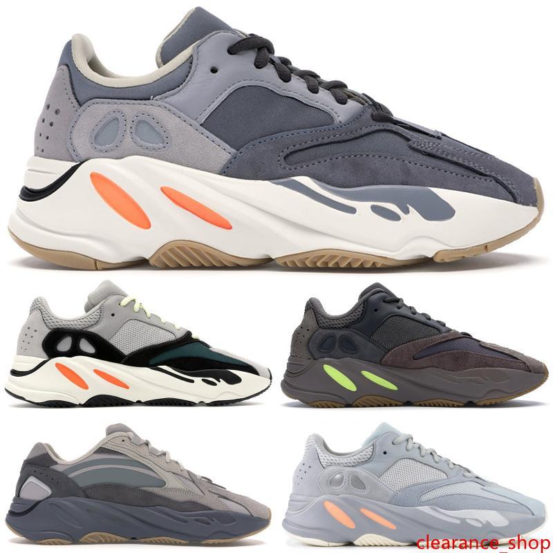 Los nuevos 700 zapatos de diseño del imán inercia V2 Kanye West Wave Runn Tephra malva estático Utilidad Negro Vanta Geode análogo de los hombres corrientes de las mujeres zapatilla de deporte