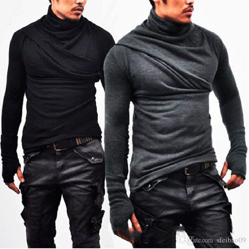Men's T-shirt Plus Gloves Fold High Collar Long Sleeve Solid Casual Hip Hop Street Plus Size M- 3XL Europen American Fashion Tops