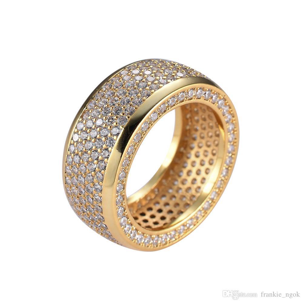 힙합 스테인레스 스틸 큐빅 지르코니아 링은 고품질 마이크로 포장 다이아몬드 반지를 털어 내었다. 여성 남성 핑거 링 블링 쥬얼리