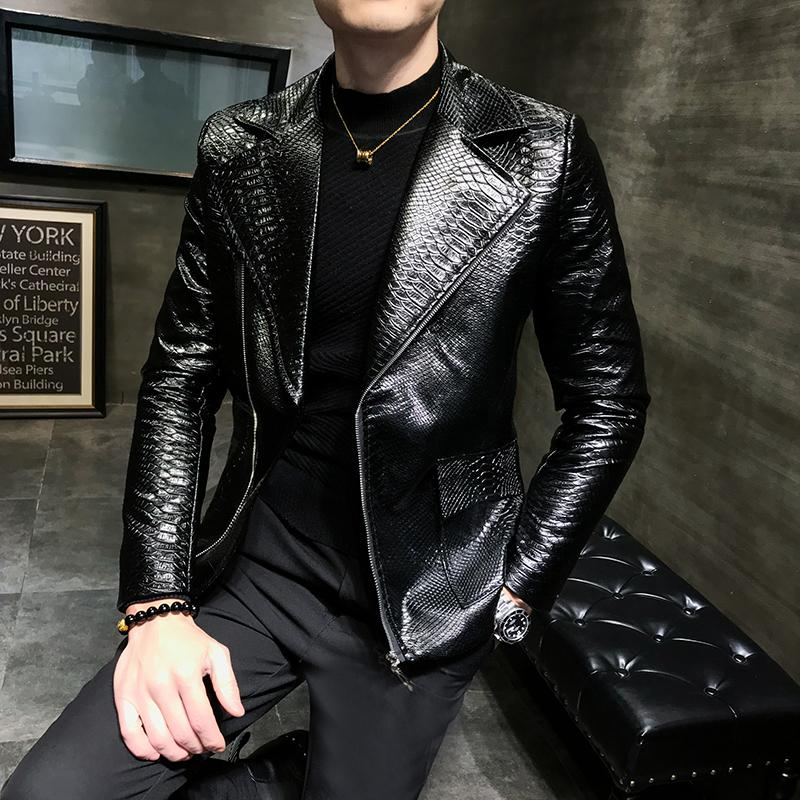 2019 Handsome Suit CollarLeisure Zipper Faux Leather Jackets Men Clothing Turn Down Collar Imitation Alligator Loose Male Coat