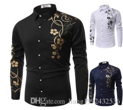 2019 new four seasons foreign trade men's youth clothes fashion bauhinia long-sleeved shirt casual shirt