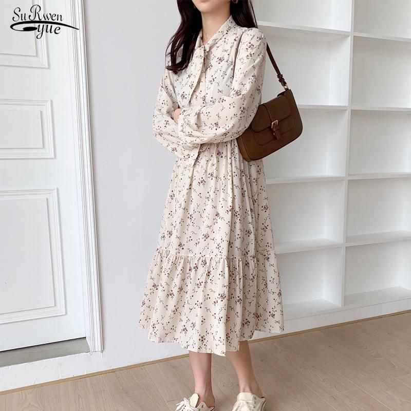 2020 Printemps À Manches Longues Robe Pour Femmes Vintage Taille élastique Floral arc Midi Robe Coréenne Imprimer Maxi Robes Robes 8840 50
