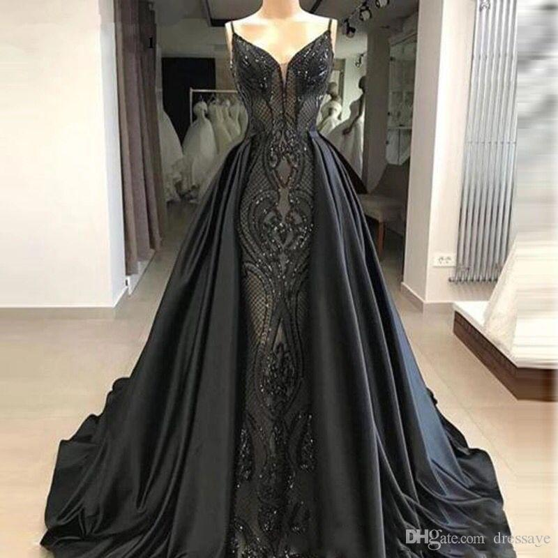 Black Spaghetti Straps Lace Mermaid Long Prom Dresses with Satin Over skirts Floor Length Formal Party Evening Gowns