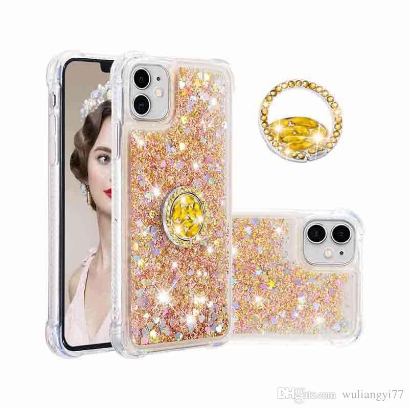 Liquide Quicksand Cas de téléphone pour iPhone 11 PRO BLING Bague dynamique iPhone11 10 8 7 6S 6 plus XR XS x Couvercle TPU clair