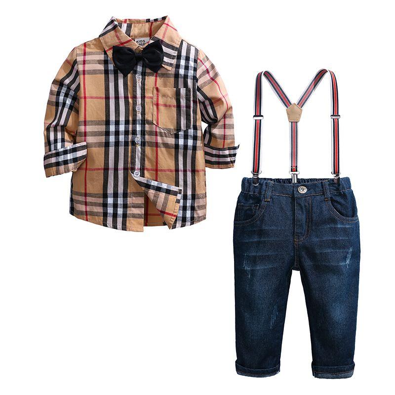 Новые европейские и американские мальчики в клетчатой рубашке джинсовый костюм мальчика джентльменский костюм из четырех частей 2-7 лет