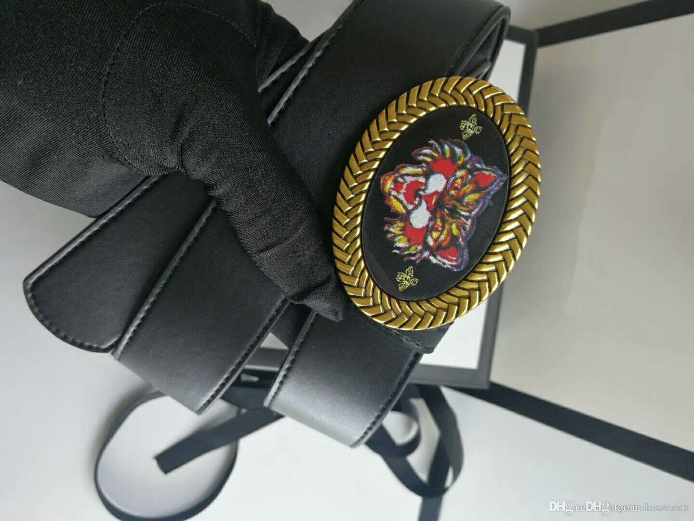 European retro style high quality flat smooth texture belt fashion tiger buckle men's designer belt with box