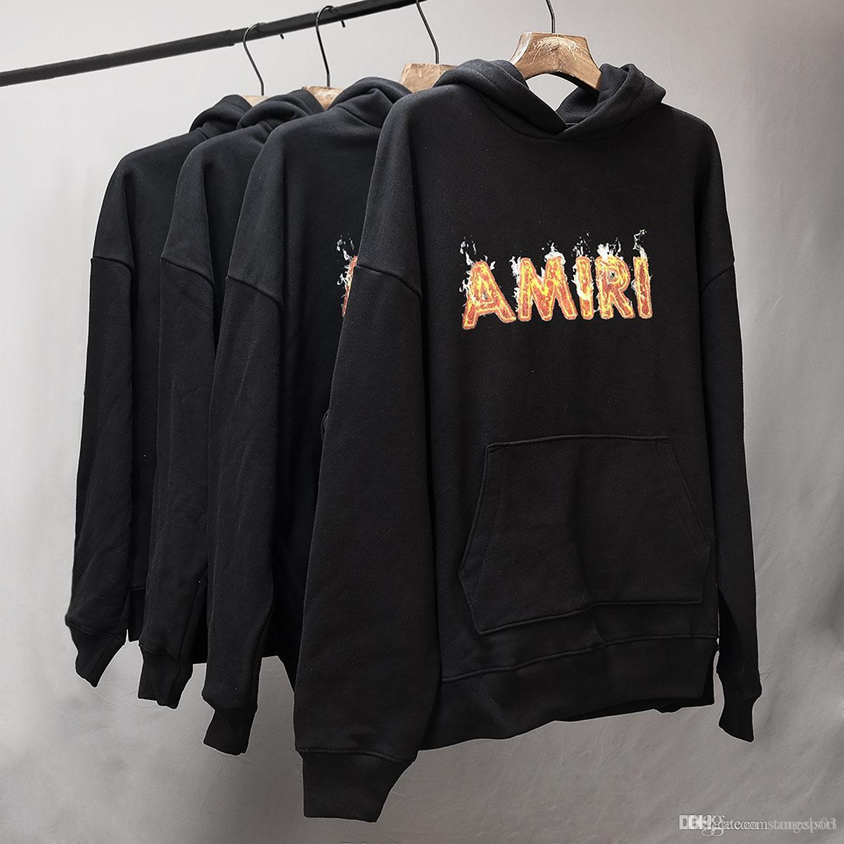 2020 Spring New High Street AMIRI Flame Letter Print Hoodie Men's and Women's Cotton Sweatshirt S-L