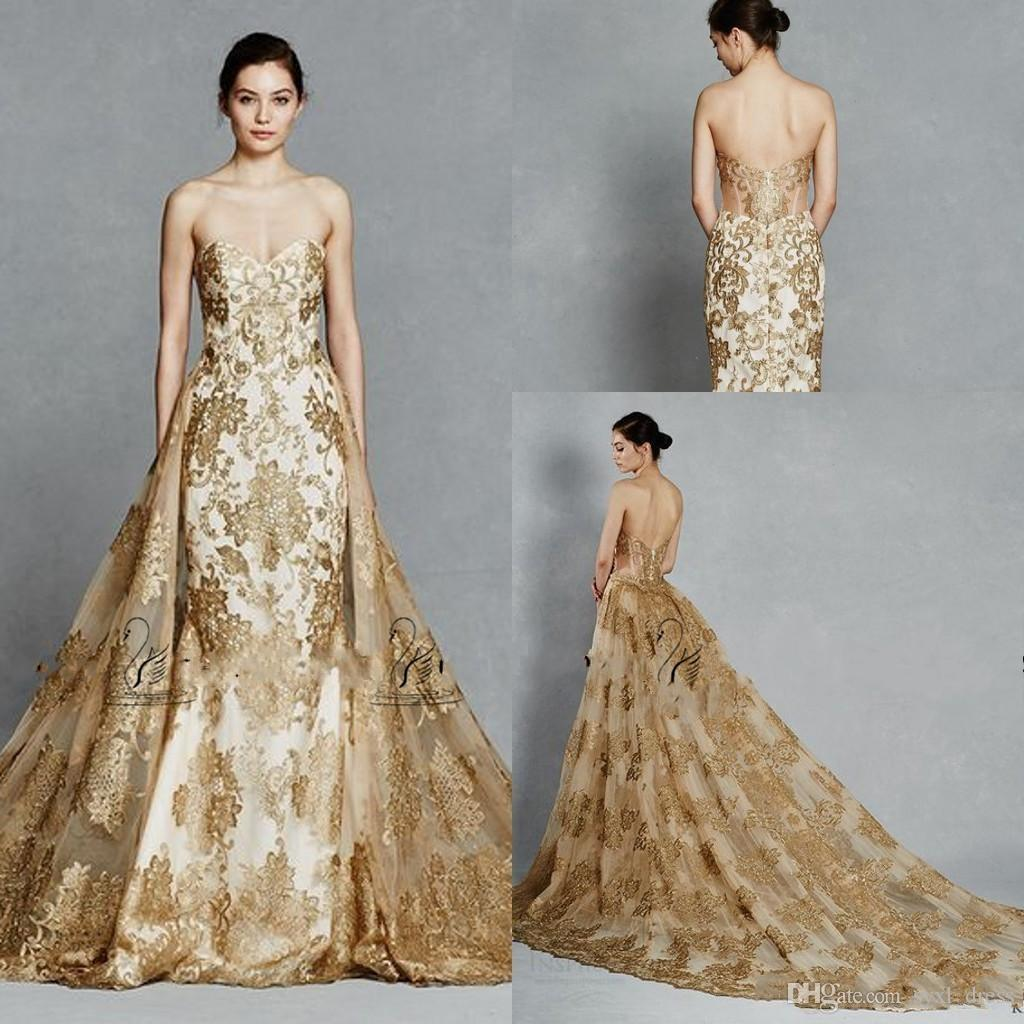 Kelly Faetanini Gold Color Lace Appliques Royal Wedding Dresses with Detachable Train Sweetheart Backless Two Pieces Wedding Gowns 2019