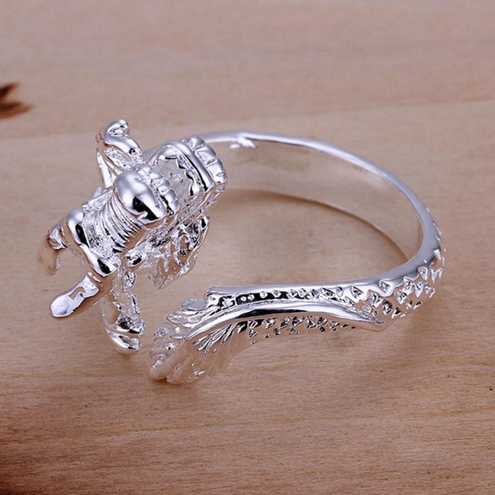 JG1 Anneau du dragon chinois Argent bijoux en plaqué ouvert et doigt redimensionnable Bague unisexe Bijoux Mode beau cadeau K3528