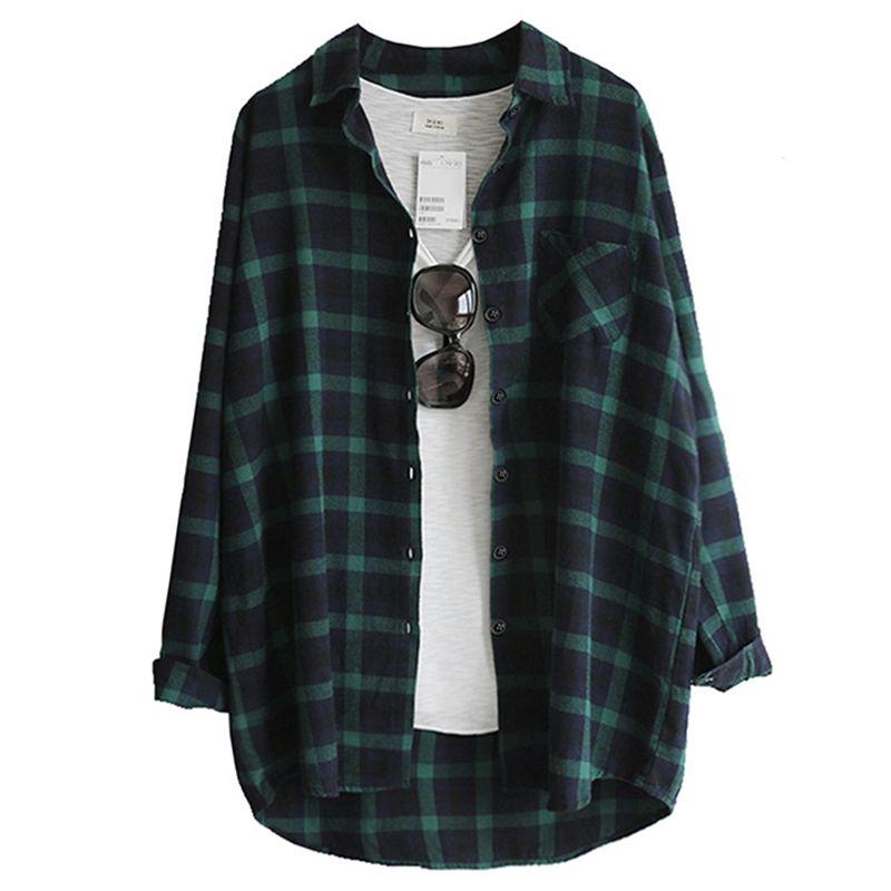 Frauen Bluse Shirt Femininas Blusas 2019 Weibliche Blusen Frühling Herbst Mode Lässig Lose Tops Plaid Langarm Baumwollhemden
