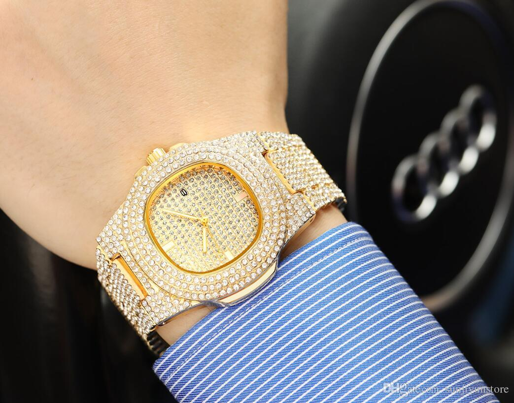 New Full Diamond Luxury Women Lady Watches Fashion Calendar Mens Watches Quartz Wristwatches Stainless Steel Men Watch