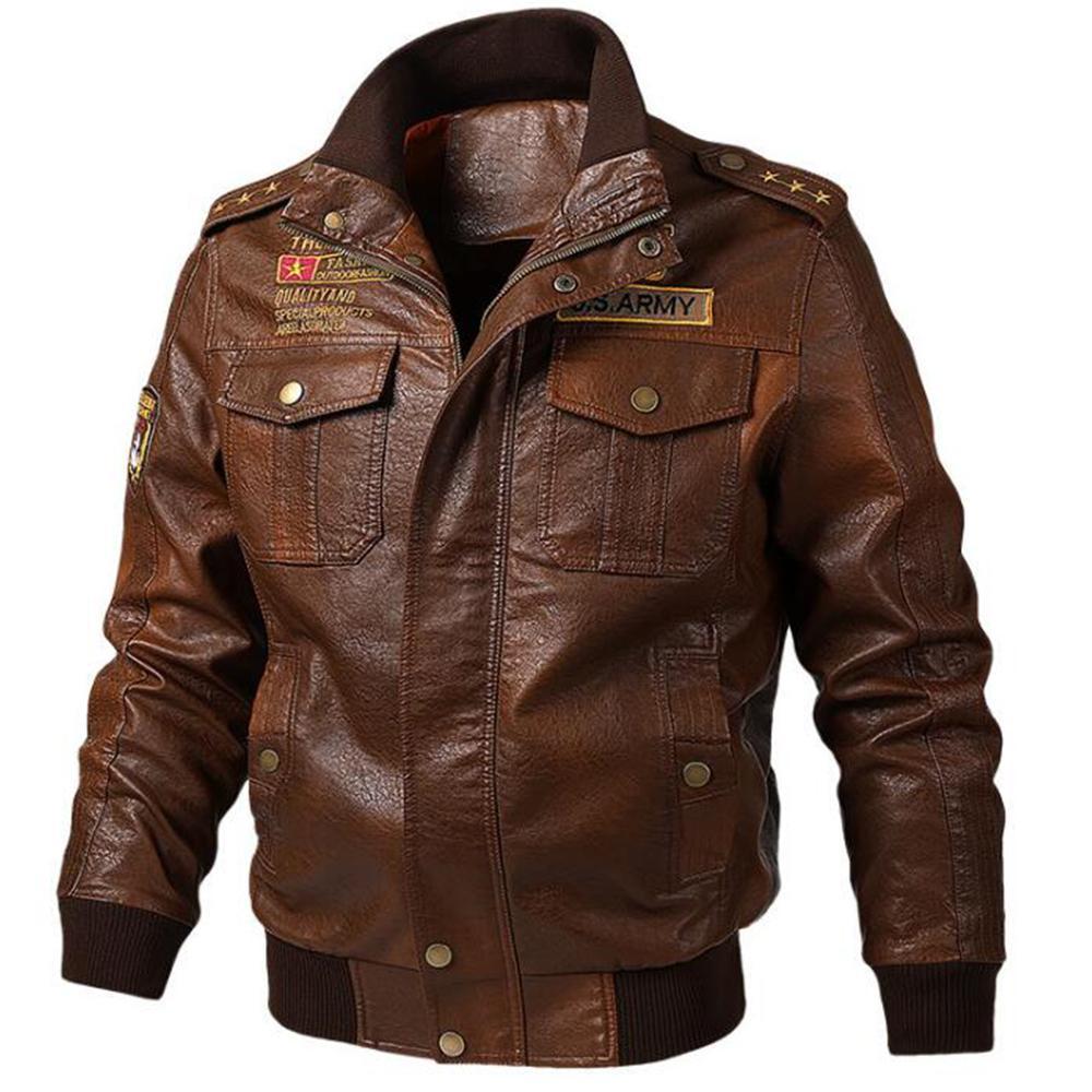 Uomini Cappotto Ecopelle Chiodo manica lunga solido di inverno maschio del motociclo PU Cappotti Moda Zipper Up Overcoat Streetwear D40