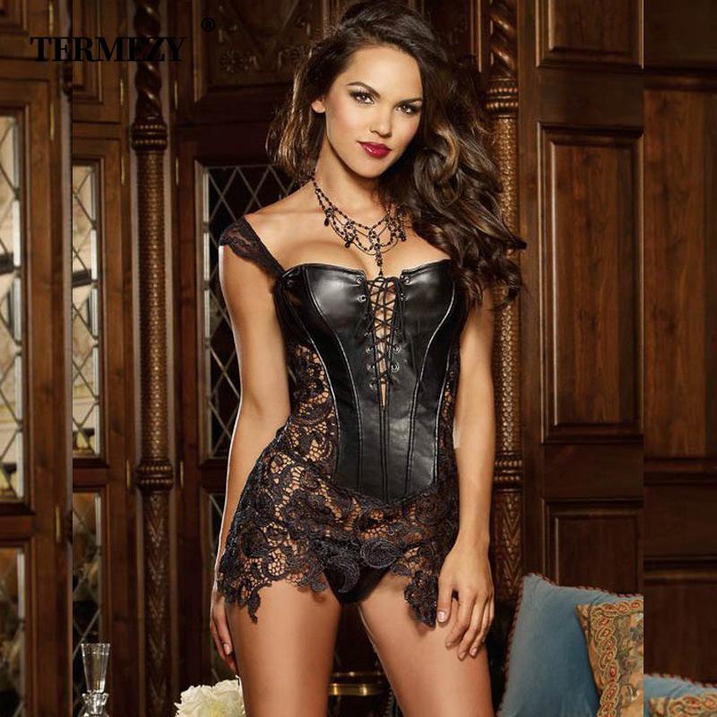 Lencería sexy Mujeres Faux Leatherlace Corset Steampunk Corsé Vestido Cintura Bustier gótico Tallas grandes S-6xl Cremallera trasera 3 colores Y19071901