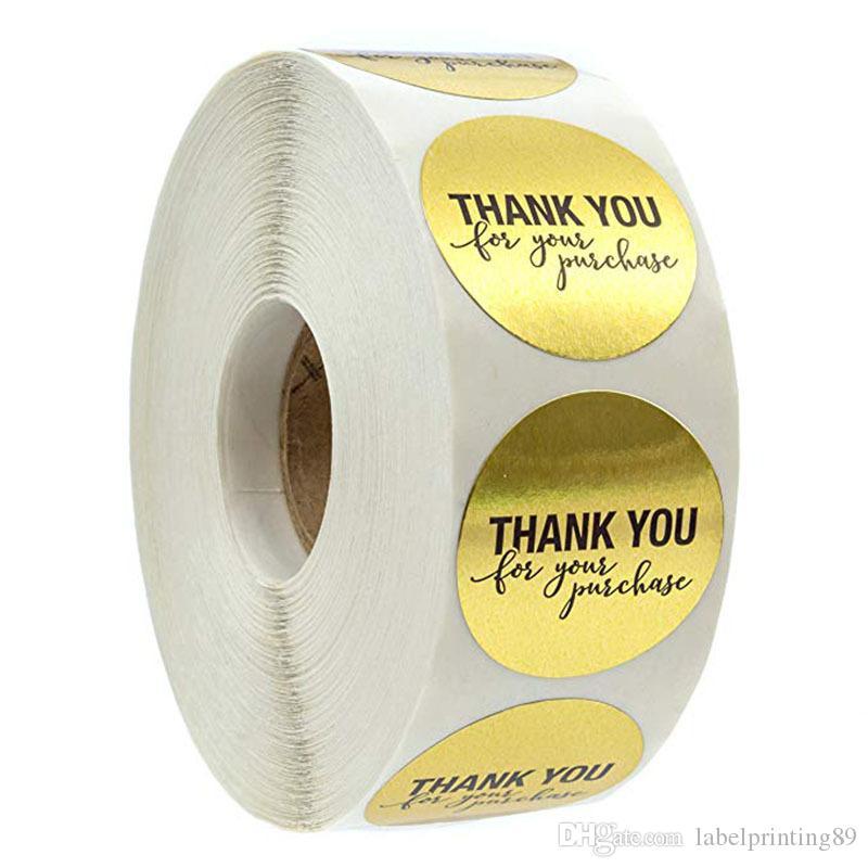 500PCS / لفة 1 بوصة الذهب أشكر حولك لاصق لاصق تسمية ملصقا المغلف ختم خبز ملصقا DIY papckage
